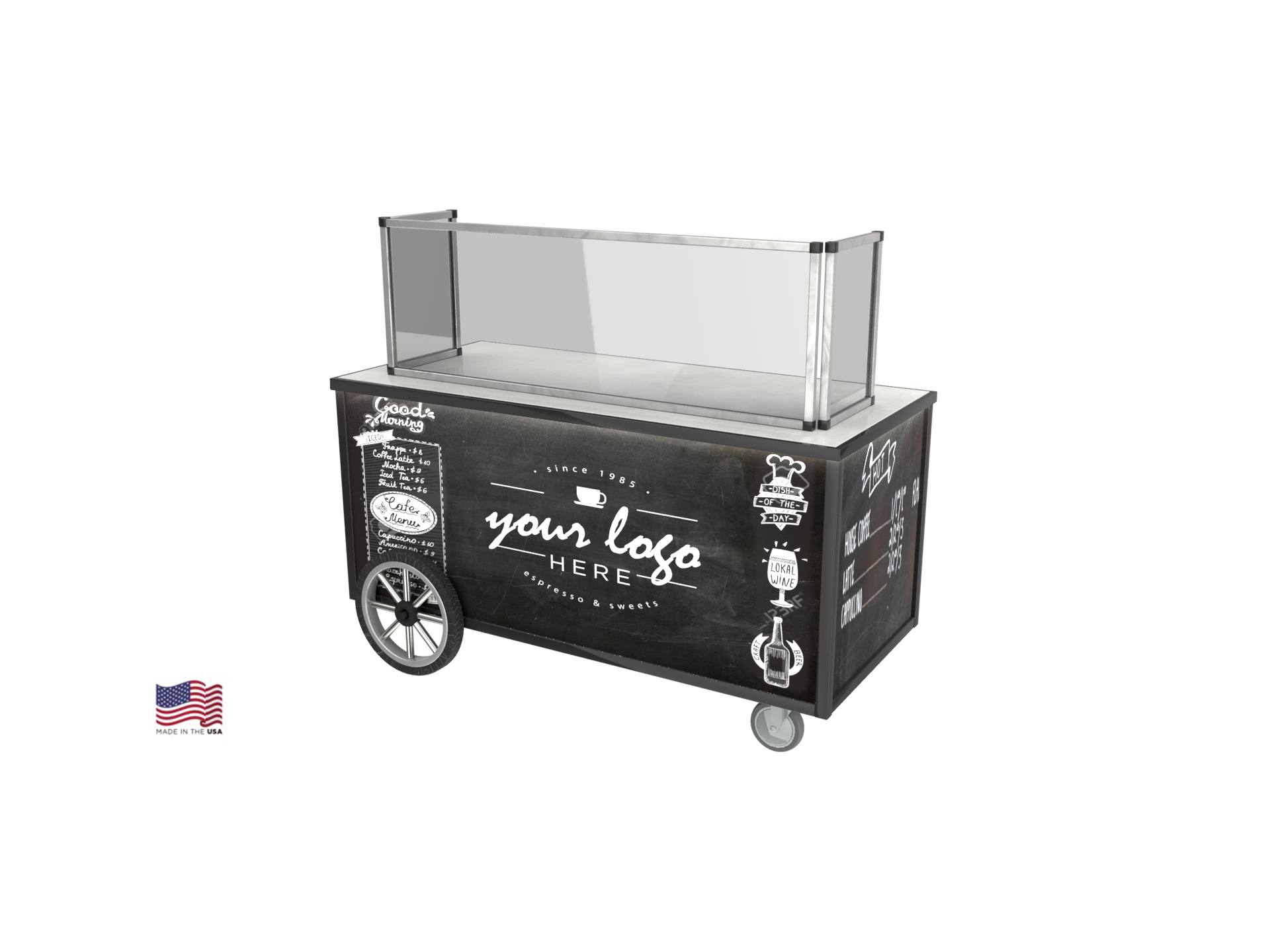 espresso machine cart, chalkboard coffee cart