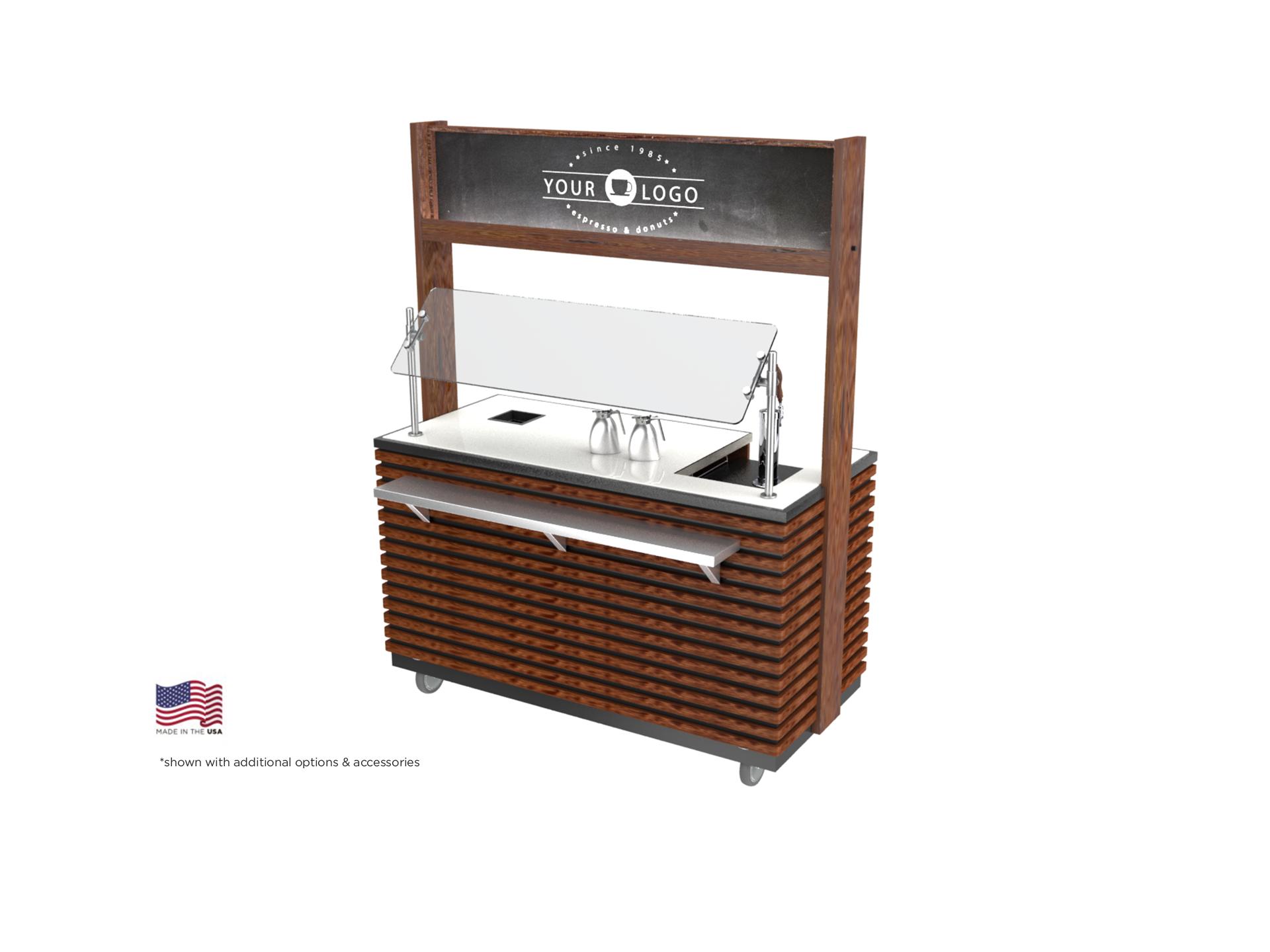 espresso machine cart, modern slated coffee cart